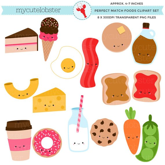 Perfect match foods set. Friendship clipart food