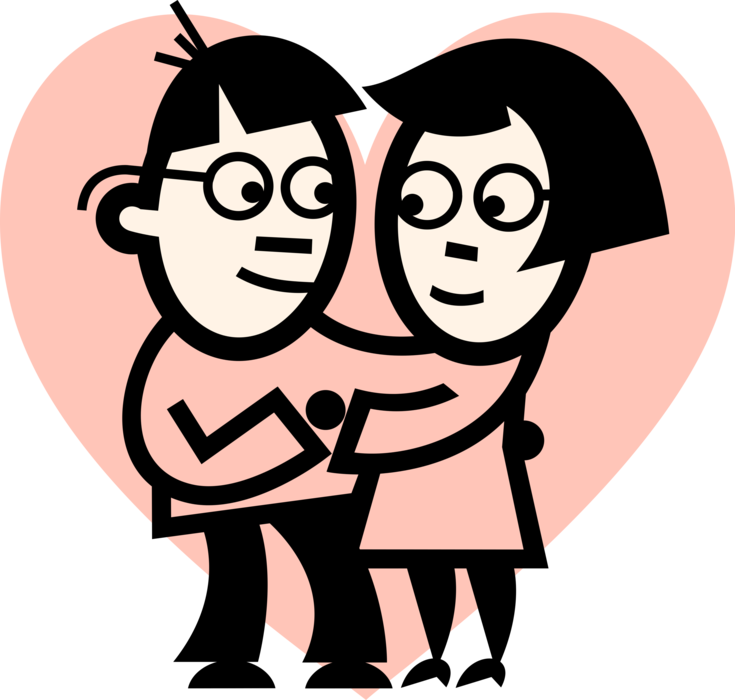 Lovers embrace with hug. Friendship clipart happy relationship