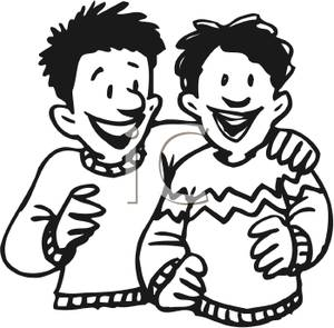 Friendship clipart mate. Two boys hugging royalty