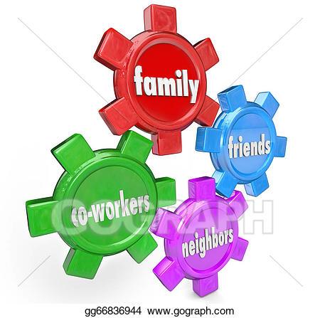 Neighbors clipart family help. Stock illustration friends co