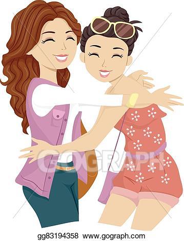 Friendship clipart woman friend. Vector teen girls friends