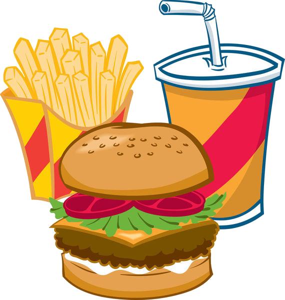 Hamburger soft drink french. Fries clipart burger