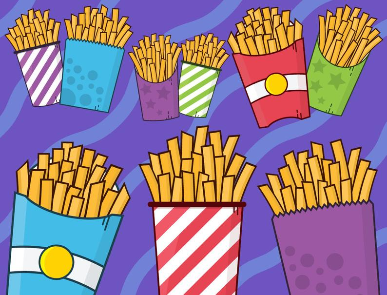 French fast fry junk. Fries clipart cute food