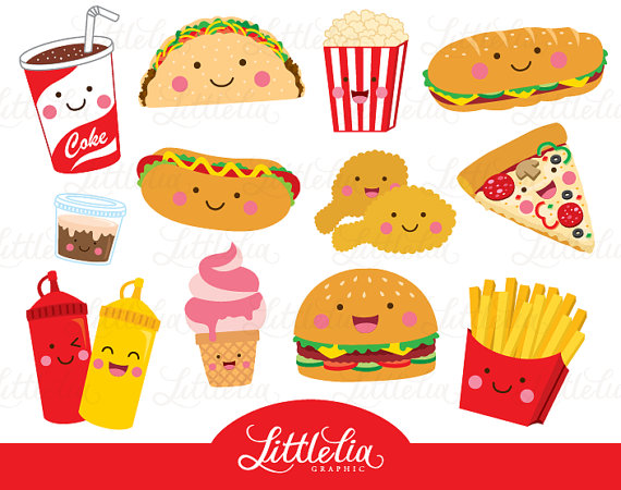 Fast . Fries clipart cute food