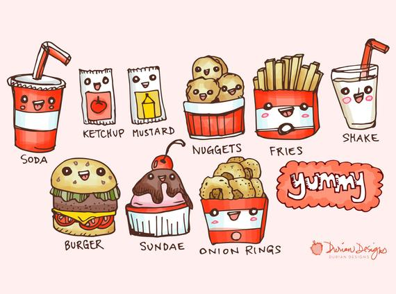 Fries clipart cute food. Burger and commercial use