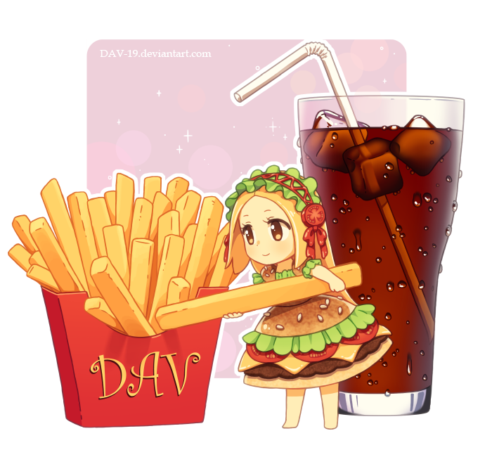 Chibburger by dav on. Fries clipart drawn