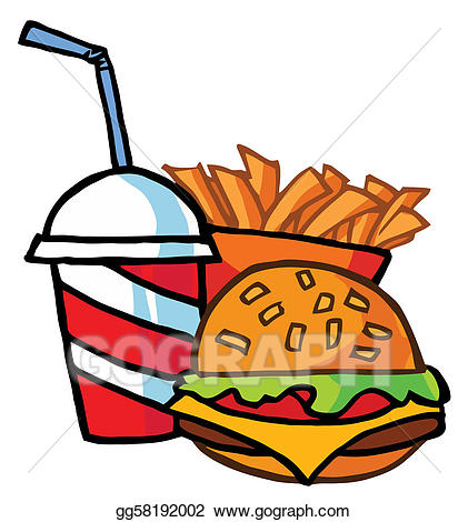 Fries clipart drink. Vector stock hamburger and