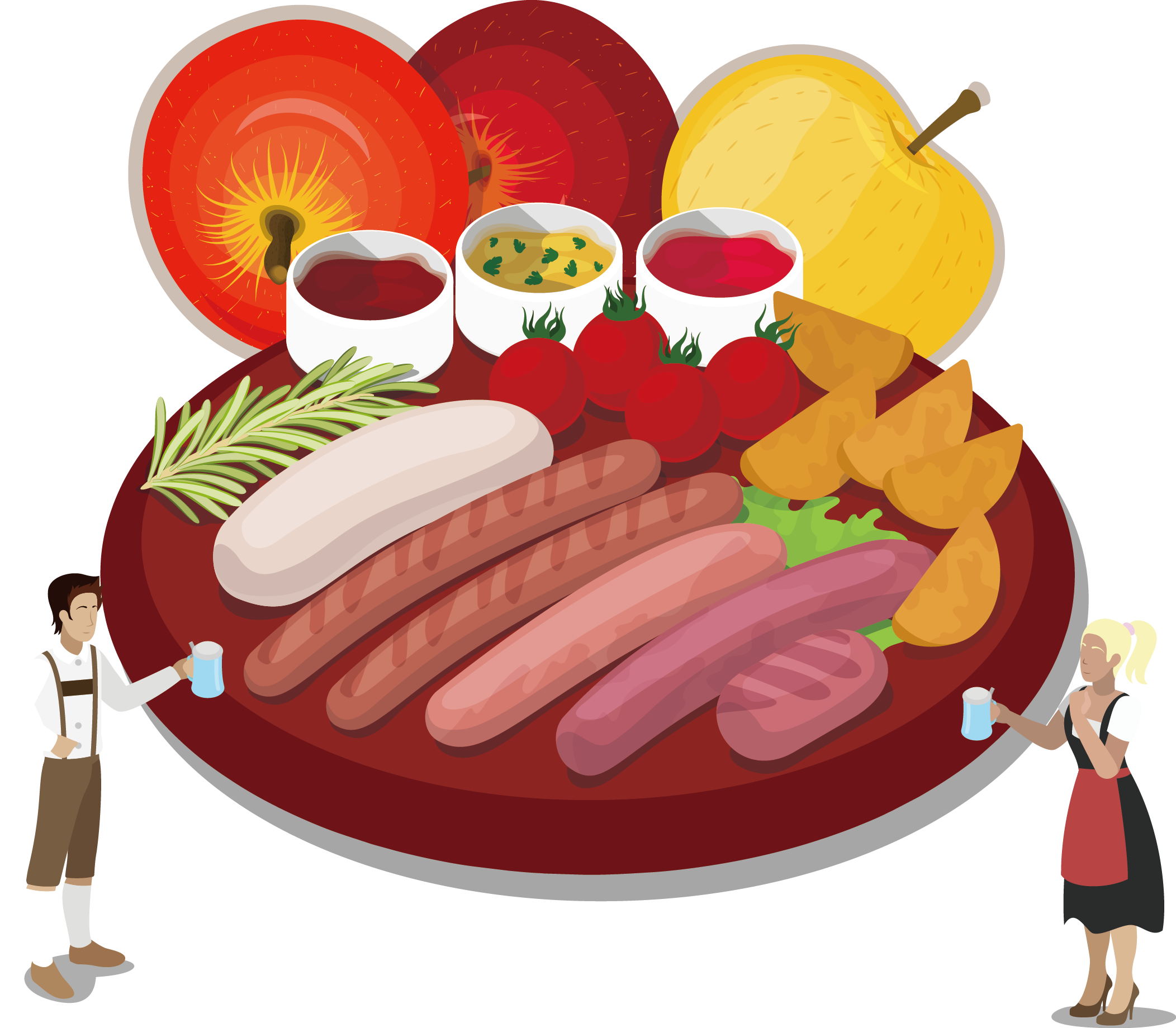 Sausage oktoberfest german cuisine. Ham clipart barbecue meat