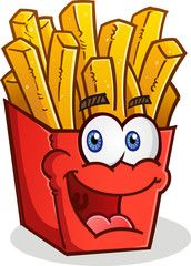 French cartoon character smiling. Fries clipart face