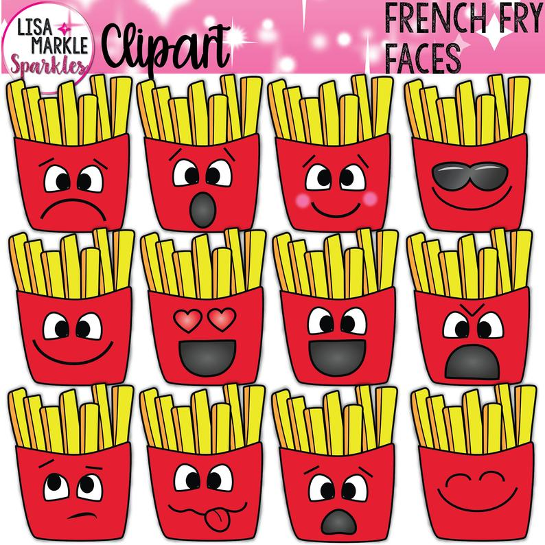 French fry emoji faces. Fries clipart fun