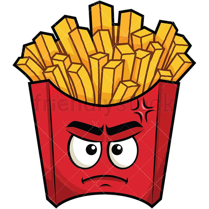 Fries clipart painting. Upset french emoji drawing