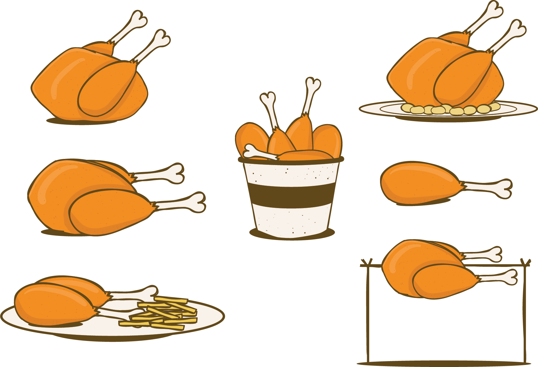 Fries clipart painting. Fried chicken french barbecue