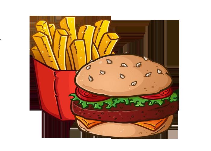 Hamburger french cheeseburger royalty. Fries clipart painting