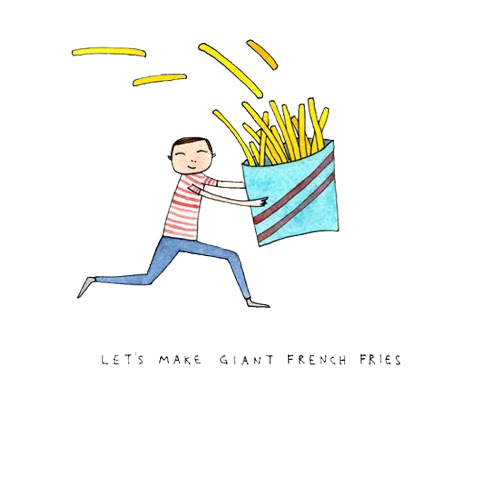 French drawing watercolor illustration. Fries clipart painting