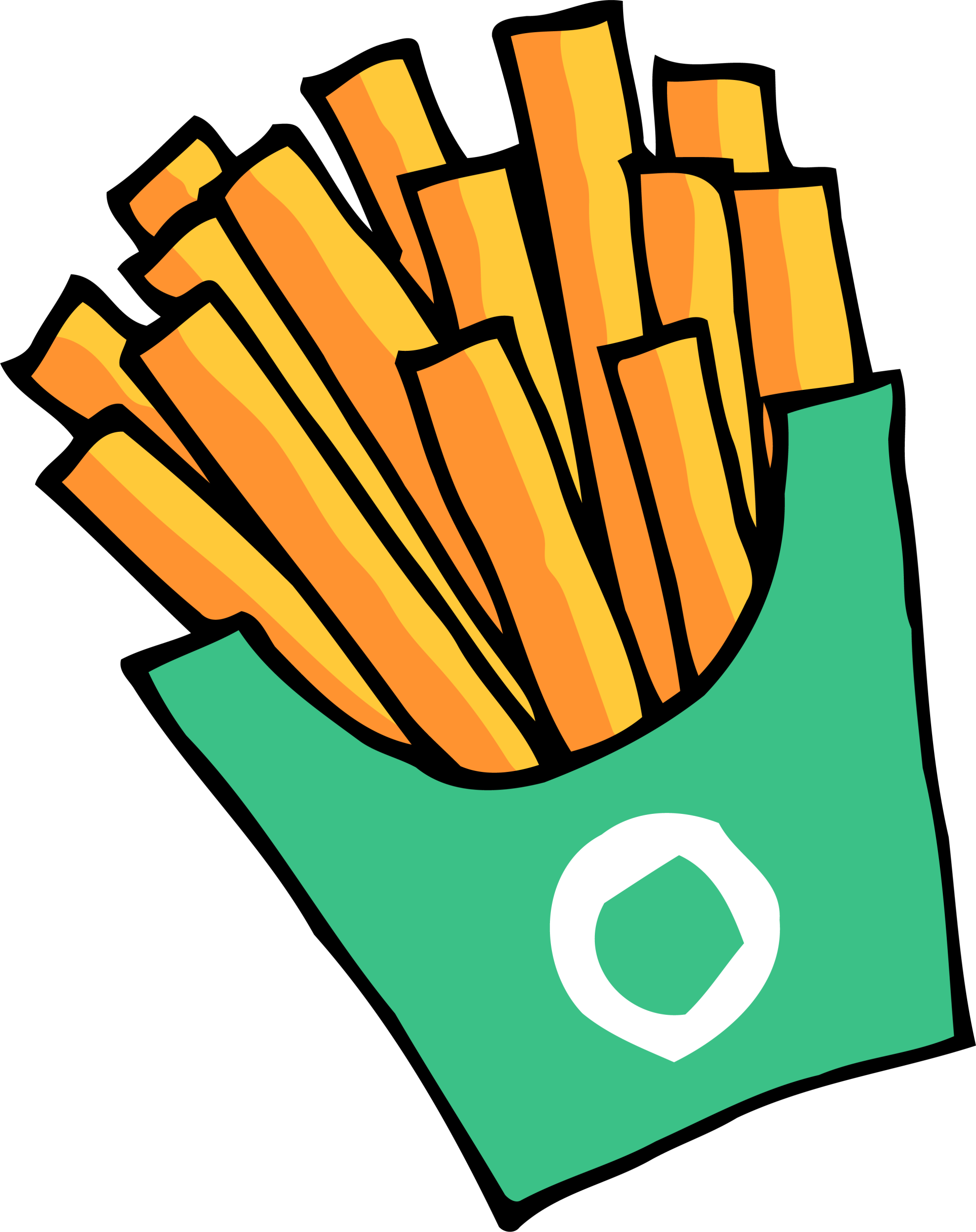 French snack green hand. Fries clipart painting