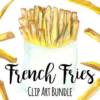Fries clipart painting. Hand painted french