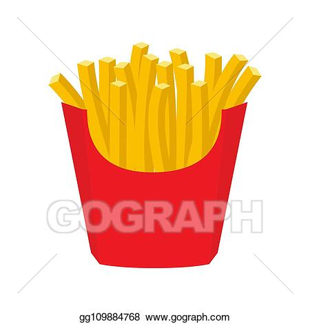 Vector illustration french in. Fries clipart red