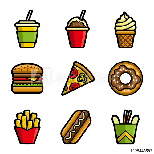 Fries clipart unhealthy food. Fast vector colored icon