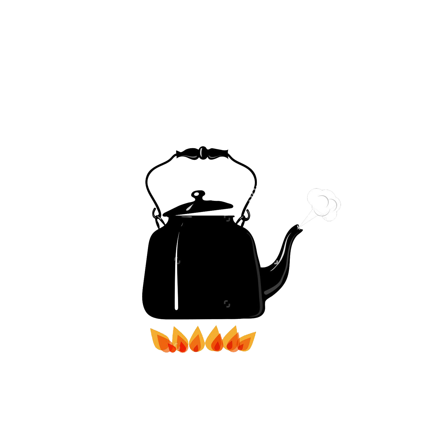Boiling kettle fire illustration. Fries clipart uses heat