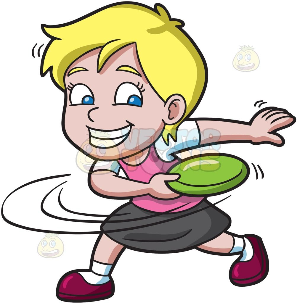 Frisbee clipart. A girl swings before