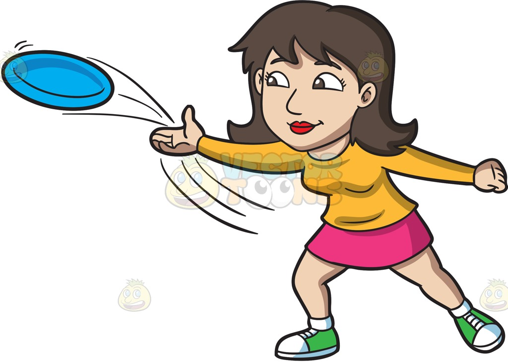 A brunette woman throwing. Frisbee clipart thrown