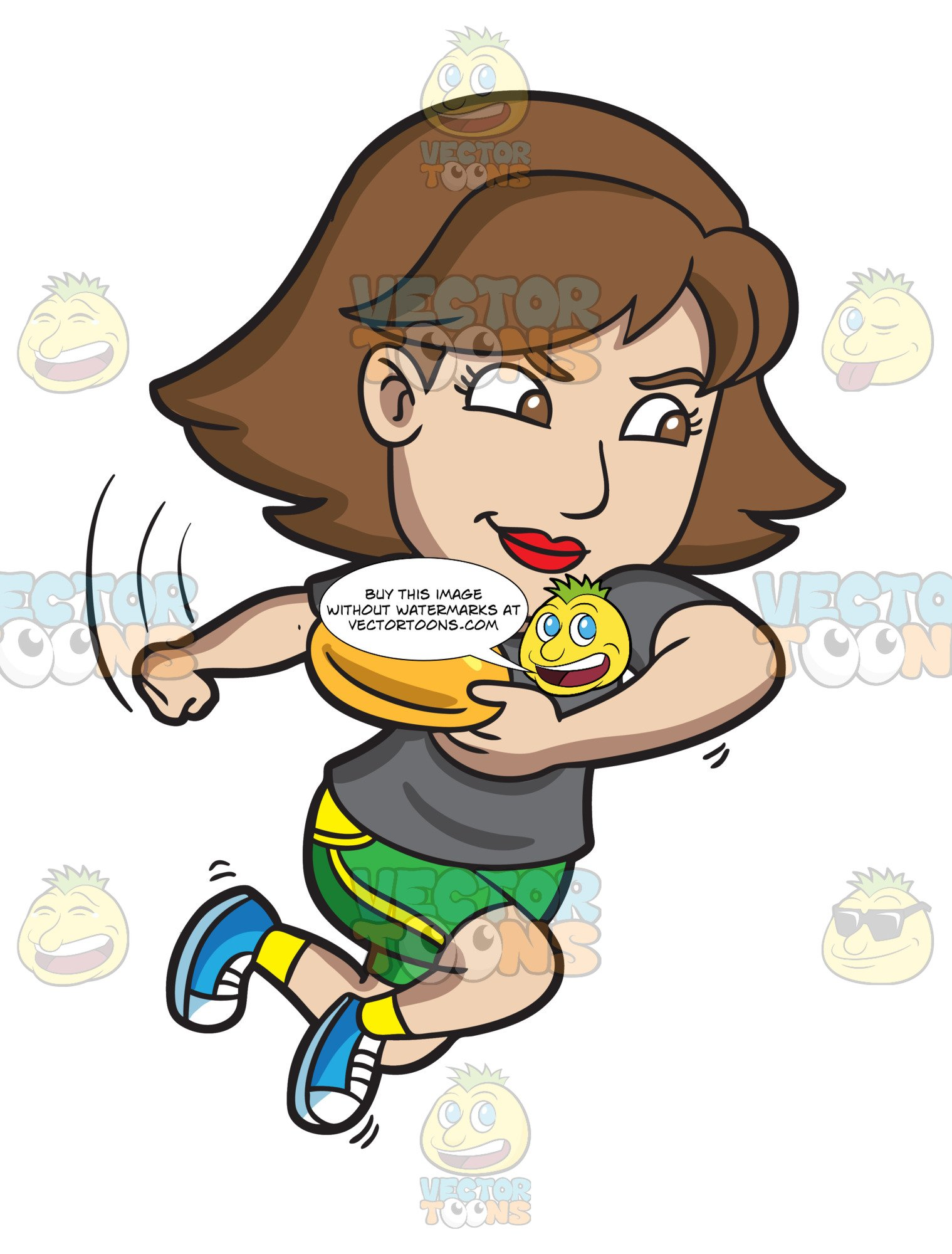 Frisbee clipart thrown. A competitive woman aims