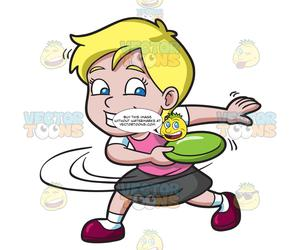 Frisbee clipart thrown. A girl swings before