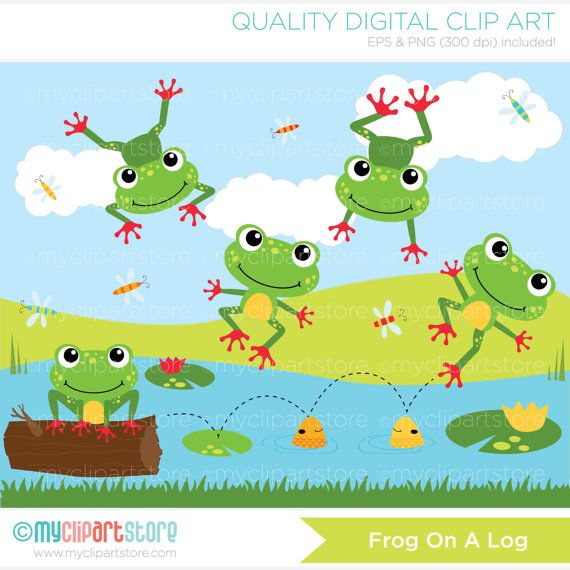 On a log vector. Frog clipart duck
