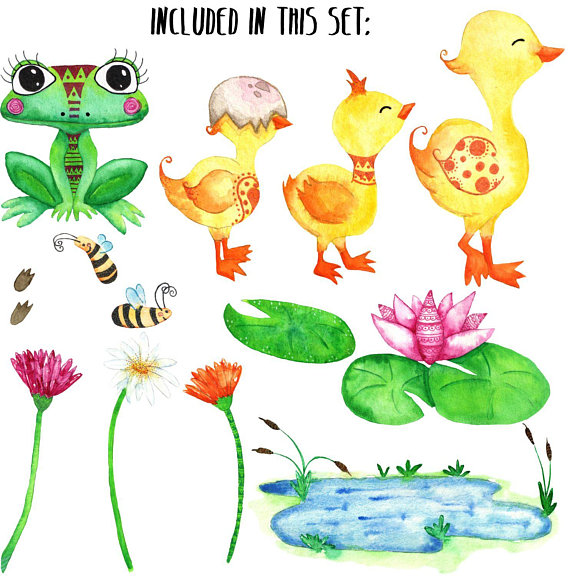 Spring animal watercolor . Frog clipart duck