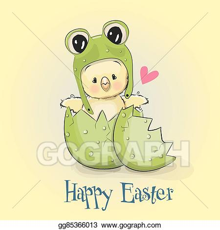 Vector chicken in a. Frog clipart easter