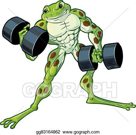Frog clipart muscular. Vector art curling dumbbells