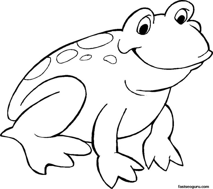 Frog clipart print. Cute coloring pages free