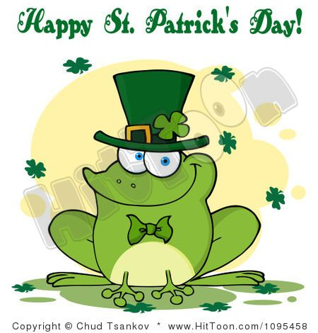 Frog clipart st patricks day. Happy greeting over a