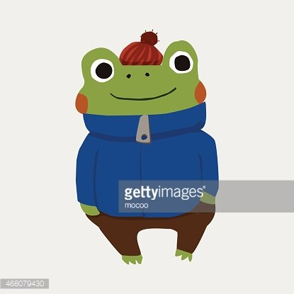Animal flat icon elements. Frog clipart winter