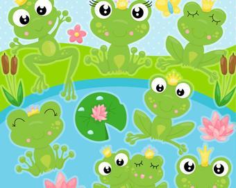 Frog clipart winter. Etsy