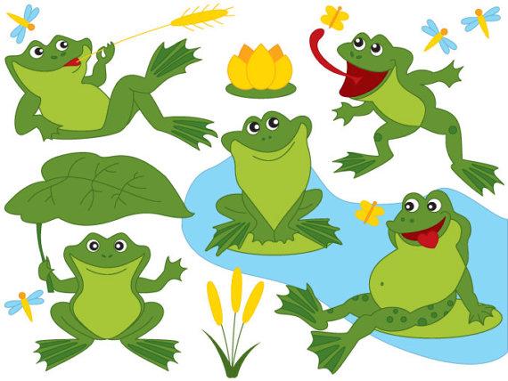 Frog digital vector green. Frogs clipart