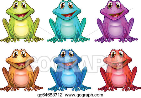 Frogs clipart colored. Vector illustration six different