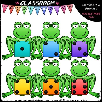 Frogs clipart colored. Colorful dice clip art