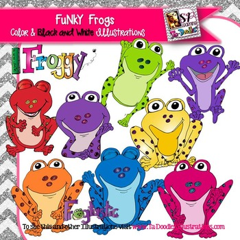 Funky bright clip art. Frogs clipart colored