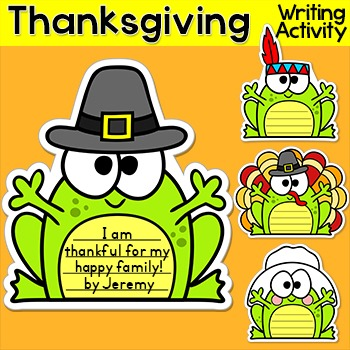 Frogs clipart thanksgiving. Writing activity and bulletin