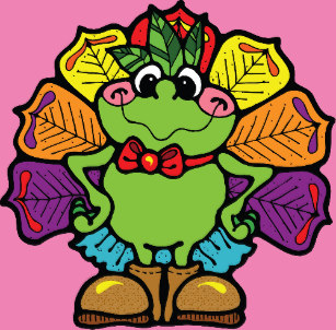 Frogs clipart thanksgiving. Funny cartoon frog stickers