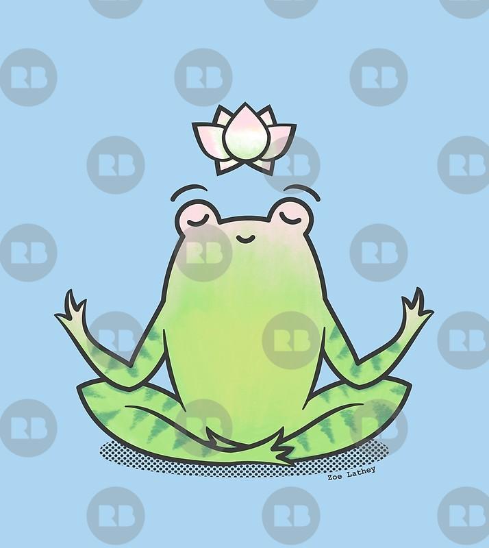 Zen frog art print. Frogs clipart yoga