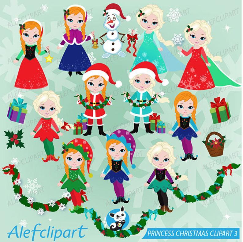 Frozen clipart christmas. Winter digital princess