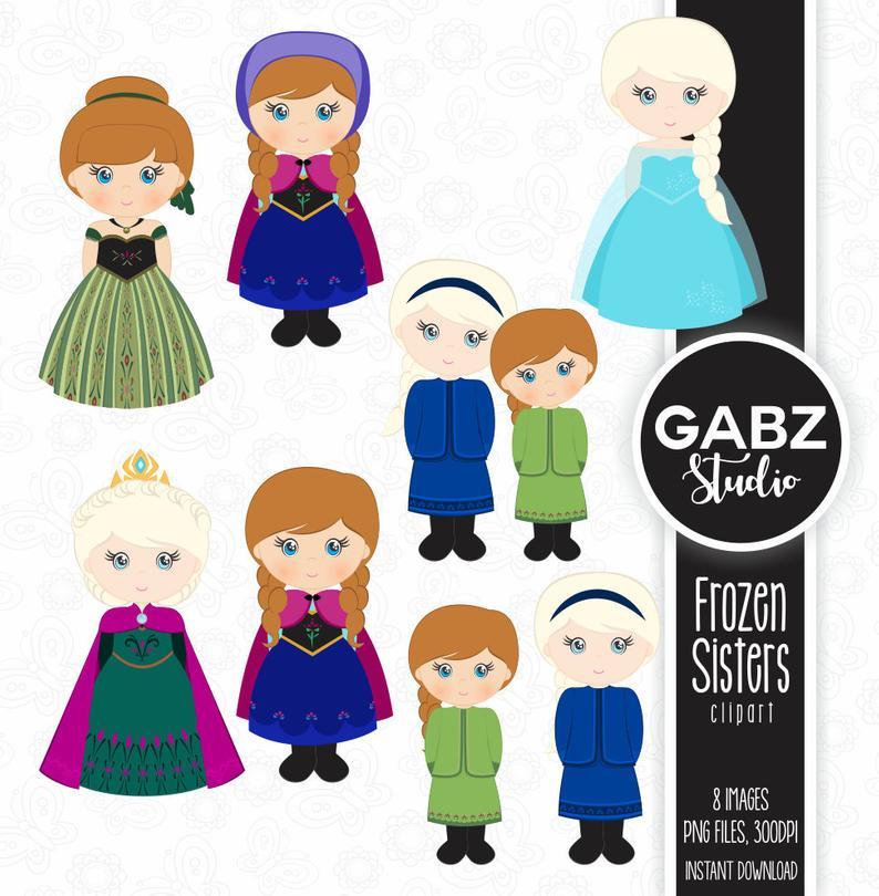 Princesses girls princess birthday. Frozen clipart frozen sisters