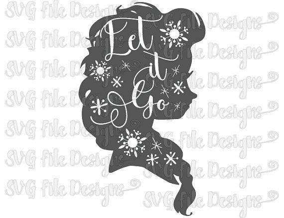 Frozen clipart let it go. Elsa snowflakes silhouette word