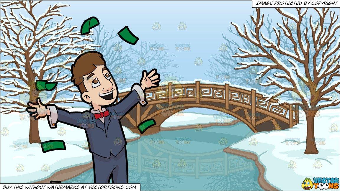 A man throwing away. Frozen clipart money