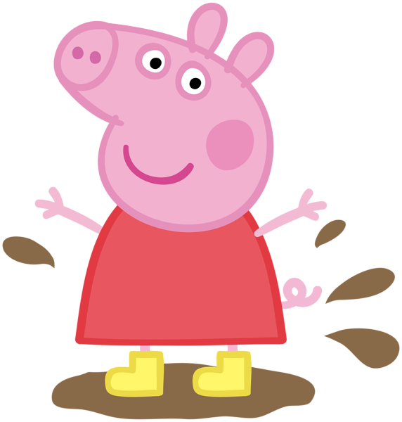 Peppa in muddy puddle. Pig clipart mud
