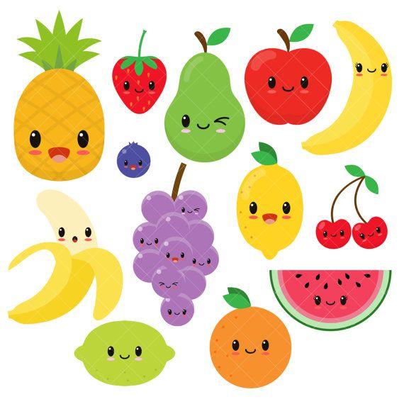 Kawaii cute happy clip. Fruit clipart