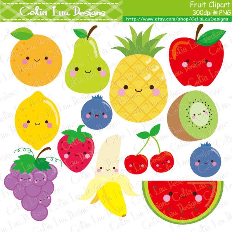 Kawaii cute clip art. Fruit clipart food
