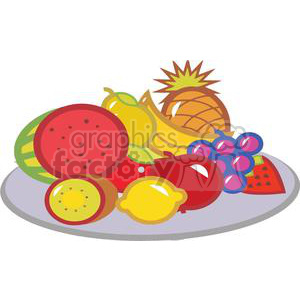 Fruit clipart fruit plate. Of fruits royalty free